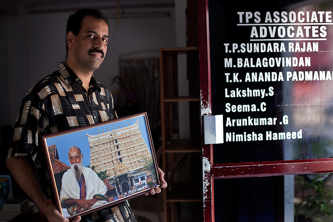 04 September 2011, Trivandrum, Kerala, INDIA:  T.K Ananda Padmanabhan, lawyer and nephew of T.P Sunderrajan (pictured) who first petitioned the Courts to open the sealed vaults at the Sree Padmnabha Swami temple devoted to Lord Vishnu in Trivandrum, India.  The discovery of a horde of gold and gemstone offerings, collected over hundreds of years and worth billions of dollars, has created deep rifts in the local community. It has resulted in protracted Supreme Court proceedings which are yet to be resolved between local devotees, Hindu fundamentalists, the Kerala Government and the Royal family.Picture Graham Crouch / Süddeutsche Zeitung