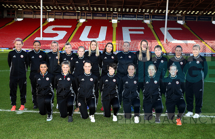 The Sheffield United Ladies team line up for a team photo on the pitch before kick off during the FA Women's Cup First Round match at Bramall Lane Stadium, Sheffield. Picture date: December 4th, 2016. Pic Clint Hughes/Sportimage