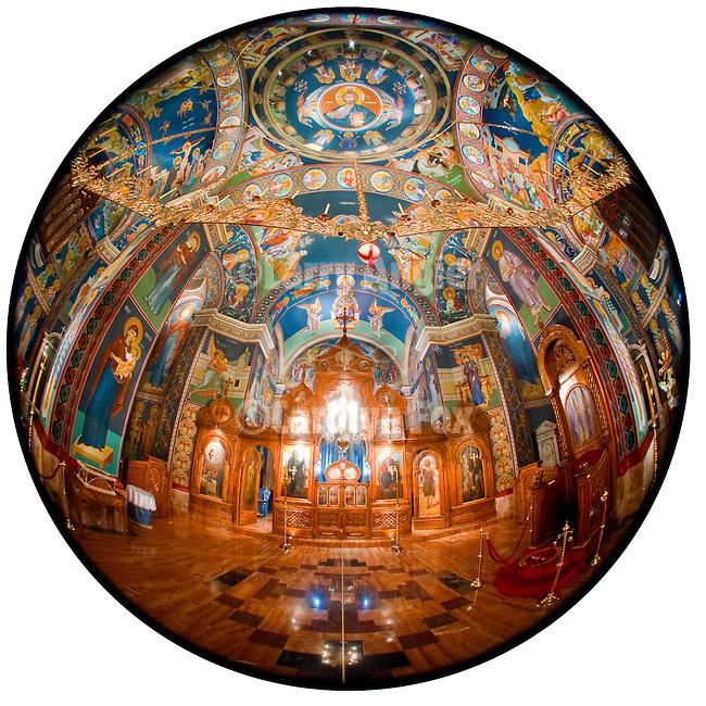 Byzantine-style frescos created by iconographer Miloje Milinkovic within the chapel of Assumption of the Virgin Mary Serbian Orthodox Church, Kragujevac, Serbia