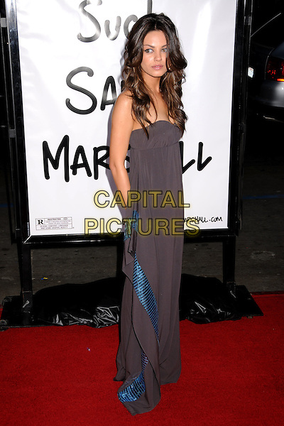 "MILA KUNIS.""Forgetting Sarah Marshall"" Los Angeles Premiere at Grauman's Chinese Theatre, Hollywood, California, USA..April 10th, 2008.full length brown strapless dress blue sequins sequined .CAP/ADM/BP.©Byron Purvis/AdMedia/Capital Pictures."
