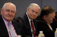 U.S. Attorney General Jeff Sessions (R) and Agriculture Secretary Sonny Perdue attend the 2018 Hurricane Briefing at the FEMA headquarters on June 6, 2018 in Washington, DC. <br /> <br /> CAP/MPI/RS<br /> &copy;RS/MPI/Capital Pictures