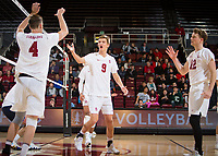 STANFORD, CA - January 5, 2019: Eric Beatty, Stephen Moye, Jordan Ewert at Maples Pavilion. The Stanford Cardinal defeated UC Santa Cruz 25-11, 25-17, 25-15.