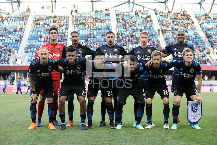 San Jose, CA - Saturday May 19, 2018: San Jose Earthquakes Starting Eleven during a Major League Soccer (MLS) match between the San Jose Earthquakes and D.C. United at Avaya Stadium.