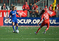26 April 2009: Kansas City Wizards defender Jimmy Conrad #12 and Toronto FC midfielder Amado Guevara #20 in action during an MLS game between Kansas City Wizards and Toronto FC..Toronto FC won 1-0. .