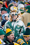Green Bay Packers fan Sandy Kahlow displays her team loyalty during an NFL divisional playoff football game against the New York Giants on January 15, 2012 in Green Bay, Wisconsin. The Giants won 37-20. (AP Photo/David Stluka)