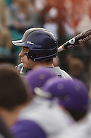 James Madison University outfielder Johnny Bladel #15 before a game against the Coastal Carolina Chanticleers at Watson Stadium at Vrooman Field on February 17, 2012 in Conway, SC.  Coastal Carolina defeated James Madison 7-1.  (Robert Gurganus/Four Seam Images)