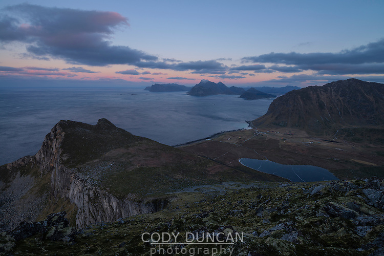 View over Myrland from summit of Møntind, Flakstadøy, Lofoten Islands, Norway