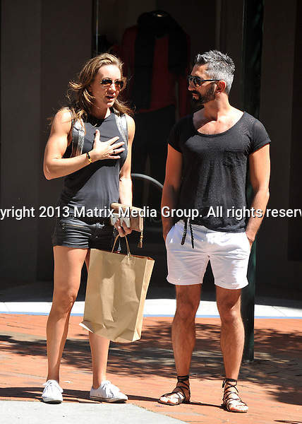 14 OCTOBER 2013 SYDNEY AUSTRALIA<br /> <br /> NON EXCLUSIVE<br /> <br /> Michelle Bridges pictured out and about with a friend in Potts Point enjoying some lunch on Challis Avenue.<br /> <br /> *No internet without clearance*<br /> MUST CALL PRIOR TO USE .<br /> +61 2 9211-1088<br /> Matrix Media Group<br /> Note: All editorial images subject to the following: For editorial use only. Additional clearance required for commercial, wireless, internet or promotional use.Images may not be altered or modified. Matrix Media Group makes no representations or warranties regarding names, trademarks or logos appearing in the images.