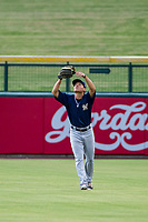 AZL Brewers center fielder Jesus Lujano (26) catches a fly ball during a game against the AZL Cubs on August 1, 2017 at Sloan Park in Mesa, Arizona. Brewers defeated the Cubs 5-4. (Zachary Lucy/Four Seam Images)