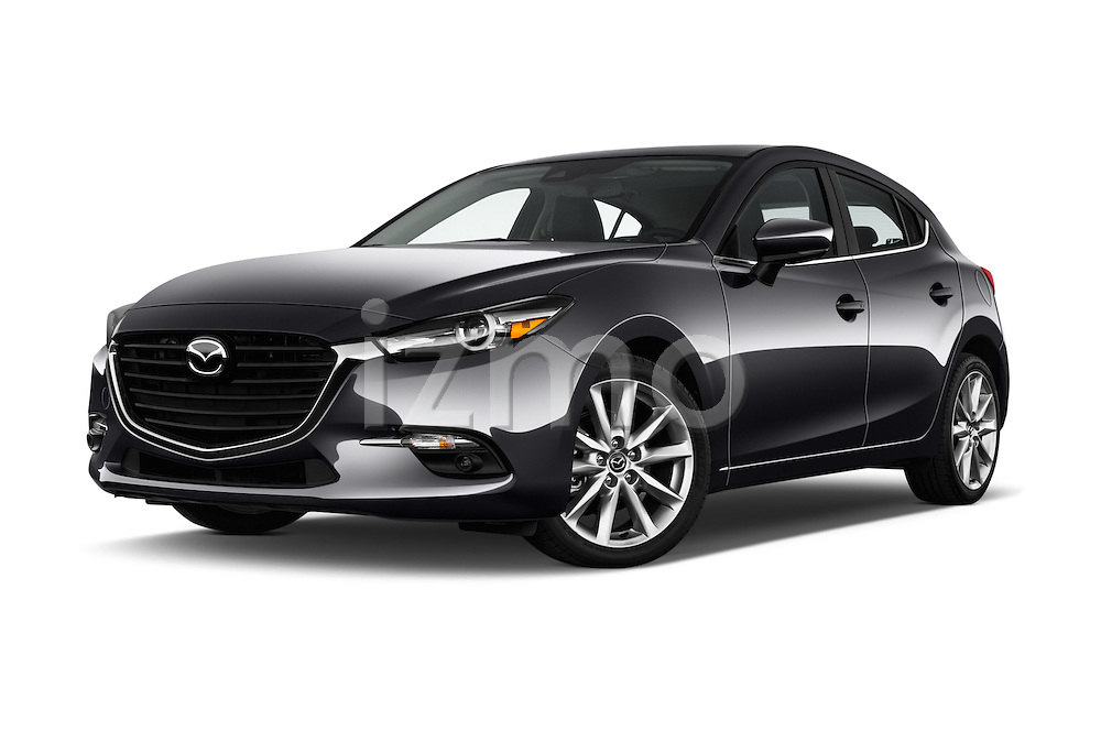 Stock pictures of low aggressive front three quarter view of 2018 Mazda Mazda3 Grand-Touring 5 Door Hatchback Low Aggressive