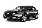 Stock pictures of low aggressive front three quarter view of 2017 Mazda Mazda3 Grand-Touring 5 Door Hatchback Low Aggressive