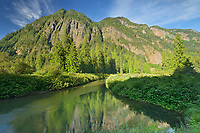 Mountains of the Cascade Range and river, E.C. Manning Provincial Park, British Columbia, Canada