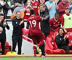 Liverpool's Sadio Mane celebrates scoring his sides opening goal with Jurgen Klopp during the premier league match at the Anfield Stadium, Liverpool. Picture date 19th August 2017. Picture credit should read: David Klein/Sportimage