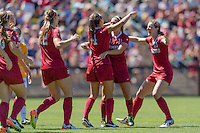 Stanford, CA - September 4, 2016:  Jordan Dibiasi Andi Sullivan during the Stanford vs Marquette Women's soccer match in Stanford, California.  The Cardinal defeated the Golden Eagles 3-0.