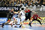 10.01.2019, Mercedes Benz Arena, Berlin, GER, Handball WM 2019, Deutschland vs. Korea, im Bild <br /> Paul Drux (GER #95), Finn Lemke (GER #6), Silvio Heinevetter (GER #12)<br /> KANG Tan (Korea #7), KU Changeun (Korea #88)<br /> <br />      <br /> Foto © nordphoto / Engler