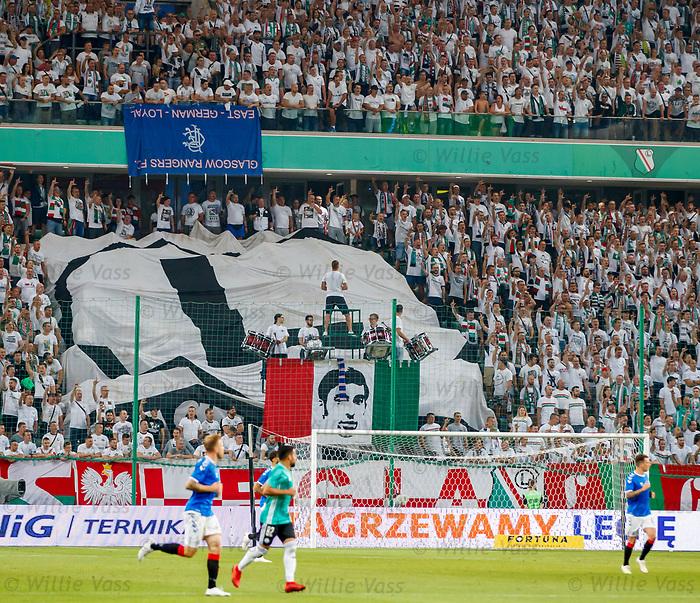 22.08.2019 Legia Warsaw v Rangers: Captured Rangers flag in Legia end
