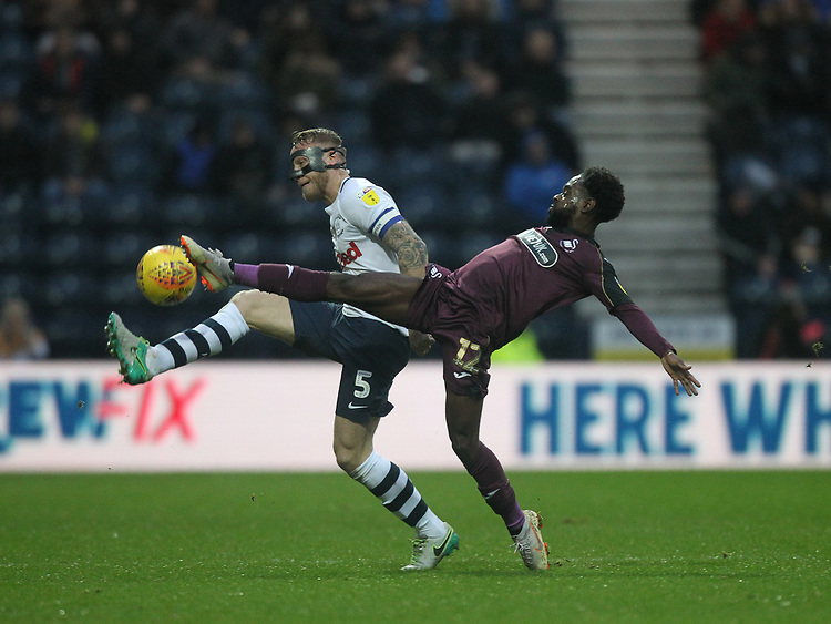 Preston North End's Tom Clarke battles with  Swansea City's Nathan Dyer<br /> <br /> Photographer Mick Walker/CameraSport<br /> <br /> The EFL Sky Bet Championship - Preston North End v Swansea City - Saturday 12th January 2019 - Deepdale Stadium - Preston<br /> <br /> World Copyright &copy; 2019 CameraSport. All rights reserved. 43 Linden Ave. Countesthorpe. Leicester. England. LE8 5PG - Tel: +44 (0) 116 277 4147 - admin@camerasport.com - www.camerasport.com