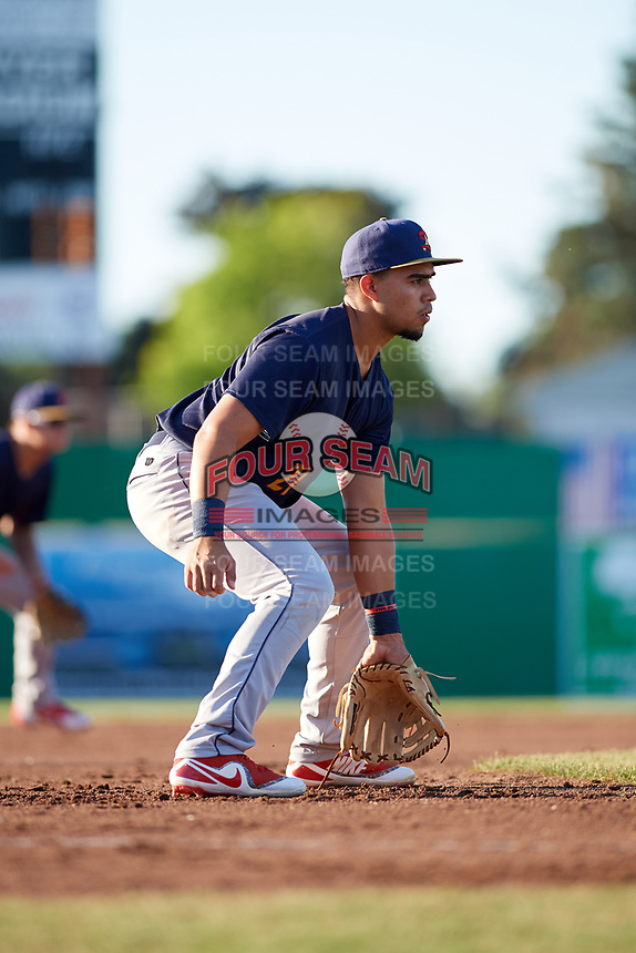 State College Spikes third baseman Stanley Espinal (21) during a game against the Batavia Muckdogs on July 7, 2018 at Dwyer Stadium in Batavia, New York.  State College defeated Batavia 7-4.  (Mike Janes/Four Seam Images)