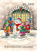Interlitho, Dani, CHRISTMAS SANTA, SNOWMAN, nostalgic, paintings, 4 kids, snowman(KL5641,#X#) Weihnachten, nostalgisch, Navidad, nostálgico, illustrations, pinturas