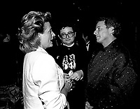 Tommy Schnurmacher (M) and Douglas COCO Leopold (R) attend the opening of the  (Montreal) World Film Festival on August 21, 1987.<br /> <br /> File Photo : Agence Quebec Presse - Pierre Roussel