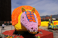 MEDELLIN -COLOMBIA-01-AGOSTO-2014. Con un homenaje a nuestra naturaleza con gigantescos animales de flores como este armadillo en La Plaza Mayor  se da incio a la 57 edicion de la Feria de Las Flores de Medellin  ./  With a tribute to our animal nature with giant armadillo flowers like this depiction is given to the 57th edition of the Feria de Las Flores Medellin.  Photo:VizzorImage / Luis Rios / Stringer
