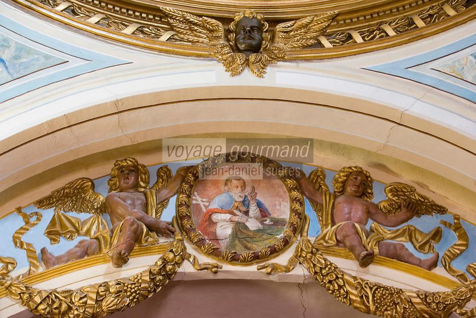 Europe/France/Rhone-Alpes/73/Savoie/Saint-Martin-de-Belleville: Chapelle Notre-Dame-de-la-Vie détail des peintures baroques de la voute