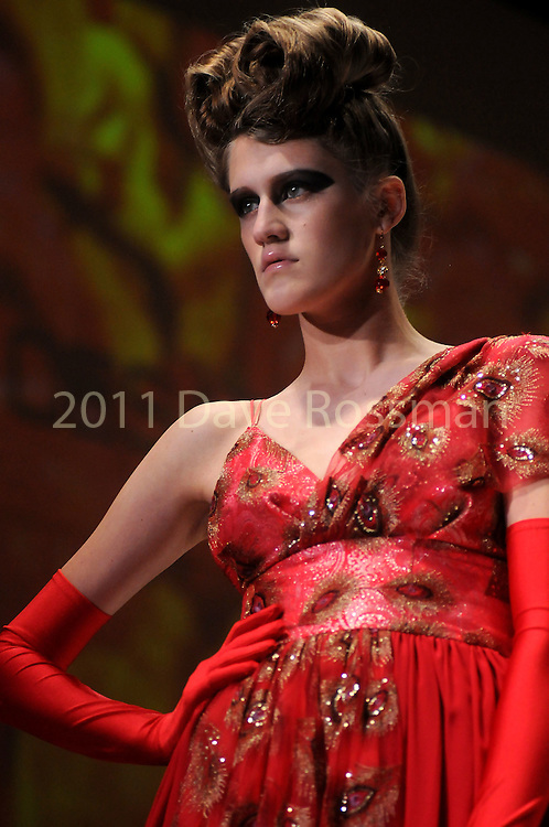 A model wears Rojo by Cesar Galindo at the fourth night of Fashion Houston at the Wortham Theater Wednesday Oct. 12,2011.(Dave Rossman/For the Chronicle)