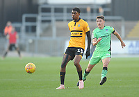 Newport County's Tyreeq Bakinson under pressure from Colchester United's Diaz Wright<br /> <br /> Photographer Kevin Barnes/CameraSport<br /> <br /> The EFL Sky Bet League Two - Newport County v Colchester United - Saturday 17th November 2018 - Rodney Parade - Newport<br /> <br /> World Copyright © 2018 CameraSport. All rights reserved. 43 Linden Ave. Countesthorpe. Leicester. England. LE8 5PG - Tel: +44 (0) 116 277 4147 - admin@camerasport.com - www.camerasport.com