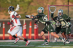 Redondo Beach, CA 05/11/10 - Unknown Palos Verdes player and Tanner Sandera (MC # 26) in action during the 2010 Los Angeles Boys Lacrosse championship game, Mira Costa defeated Palos Verdes 12-10 at Redondo Union High School.