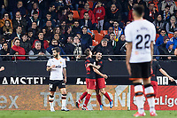 14th February 2020; Mestalla, Valencia, Spain; La Liga Football,Valencia versus Atletico Madrid; Marcos Llorente of Atletico Madrid celebrates with Angel Correa of Atletico Madrid after scoring the first goal for his team for 0-1 in minute 15'