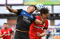 SAN JOSE, CA - FEBRUARY 29: Andy Rios #25 of the San Jose Earthquakes goes up for a header with Omar Gonzalez #44 during a game between Toronto FC and San Jose Earthquakes at Earthquakes Stadium on February 29, 2020 in San Jose, California.