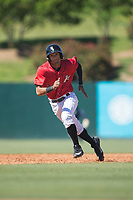 Joel Booker (23) of the Kannapolis Intimidators takes off for third base during the game against the Asheville Tourists at Kannapolis Intimidators Stadium on May 7, 2017 in Kannapolis, North Carolina.  The Tourists defeated the Intimidators 4-1.  (Brian Westerholt/Four Seam Images)