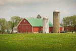 Red barn and silos, Otsego County, Michigan.