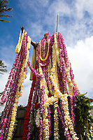 King Kamehameha statue adorned in leis celebrating King Kamehameha day in June