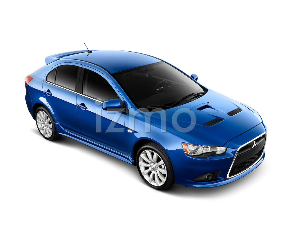 High Angle View of a Blue 2010 Mitsubishi Lancer Sportback