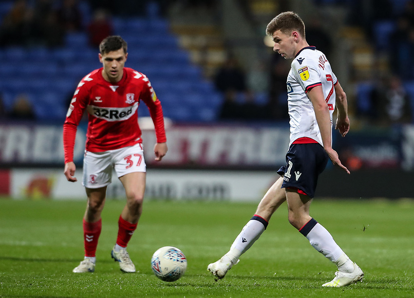 Bolton Wanderers' Joe Williams <br /> <br /> Photographer Andrew Kearns/CameraSport<br /> <br /> The EFL Sky Bet Championship - Bolton Wanderers v Middlesbrough -Tuesday 9th April 2019 - University of Bolton Stadium - Bolton<br /> <br /> World Copyright © 2019 CameraSport. All rights reserved. 43 Linden Ave. Countesthorpe. Leicester. England. LE8 5PG - Tel: +44 (0) 116 277 4147 - admin@camerasport.com - www.camerasport.com