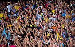 SHENZHEN - JULY 28: Chinese soccer Supporters during the match between Borussia Dortmund vs Manchester City FC at the 2016 International Champions Cup China match at the Shenzhen Stadium on 28 July 2016 in Shenzhen, China. (Photo by Power Sport Images/Getty Images)