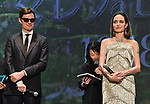 "Actor Sam Riley and actress Angelina Jolie(R) attend the Japan premiere for ""Maleficent: Mistress of Evil"" at Roppongi Hills Arena in Tokyo, Japan on October 3, 2019. (Photo by AFLO)"