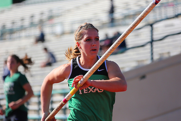 DENTON, TX - APRIL 6: Shara Vann of the University of North Texas Track & field women's pole vault team at Fouts Field on April 6, 2013 in Denton, Texas.  (Photo by Rick Yeatts)