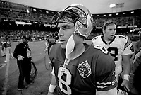 SAN FRANCISCO, CA:  Quarterback Steve Young of the San Francisco 49ers stands on the field after a game against the Carolina Panthers at Candlestick Park in San Francisco, California on December 8, 1996. (Photo by Brad Mangin)