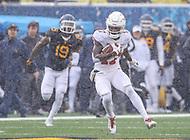 Morgantown, WV - November 18, 2017: Texas Longhorns wide receiver Reggie Hemphill-Mapps (17) catches a pass during game between Texas and WVU at  Mountaineer Field at Milan Puskar Stadium in Morgantown, WV.  (Photo by Elliott Brown/Media Images International)