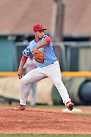 Johnson City Cardinals starting pitcher Jordan Hicks (12) delivers a pitch during a game against the Danville Braves at Howard Johnson Field at Cardinal Park on July 26, 2016 in Johnson City, Tennessee. The Braves defeated the Cardinals 10-8. (Tony Farlow/Four Seam Images)
