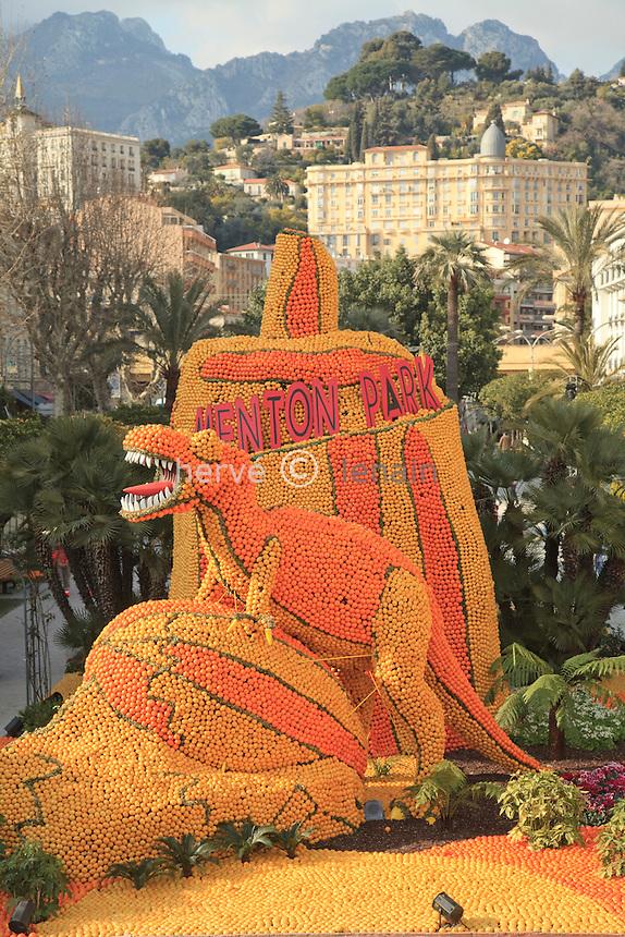 France, Alpes-Maritimes (06), Menton, la 77ème fête du Citron sur le thème, Menton fait son cinéma, les jardins Bioves // France, Alpes-Maritimes, Menton, the 77th Lemon Festival on the theme, Menton at the cinema, here in the gardens Bioves