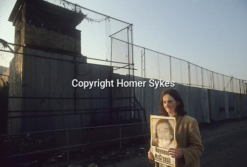 Hunger striker  Raymond McCreesh poster woman protesting out side of Long Kesh prison. 1981