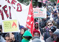 Manifestazione per i diritti dei migranti e contro razzismo e sfruttamento, a Roma, 12 novembre 2016.<br /> Protesters attend a demonstration for migrant rights, residence permits and against racism and exploitation, in Rome, 12 November 2016.<br /> UPDATE IMAGES PRESS/Riccardo De Luca