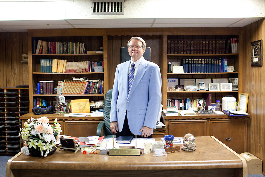 Dr. R. L. Calhoun, the Pastor of New Life Fellowship in Texas City, Texas, stands in his church office. Dr. Calhoun was one of the local religeous leaders to lead the memorial service at the BP refinery after the 2005 explosion that killed fifteen workers.