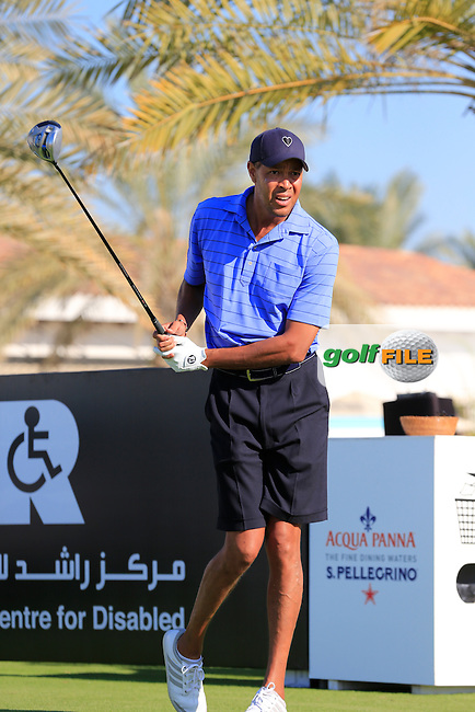 Ric Lewis tees off the 10th tee to start his match during the 2015 Abu Dhabi Invitational Am-Am event held at Yas Links Golf Course, Abu Dhabi.: Picture Eoin Clarke, www.golffile.ie: 1/26/2015