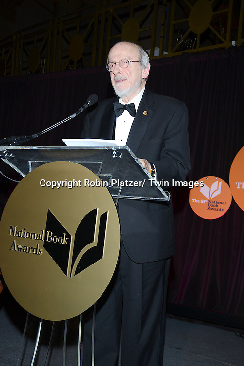 E.L. Doctorow  accepts his Lifetime Achievement Award the 2013 National Book Awards Dinner and Ceremony on November 20, 2013 at Cipriani Wall Street in New York City.