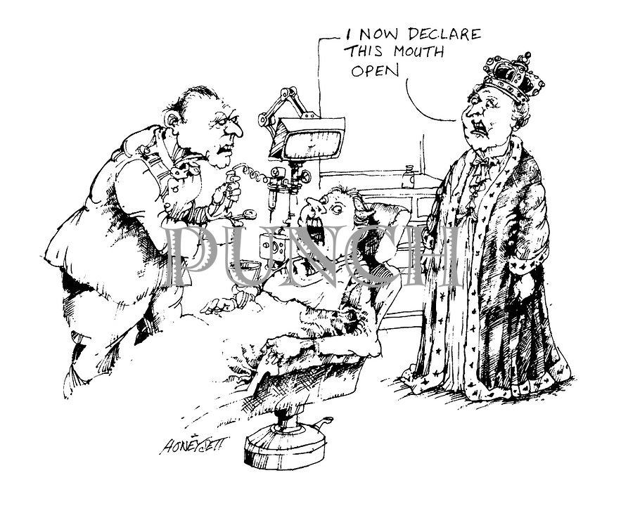 (A scene at a dentist's office where the dentist is working on a patient. The Queen stands beside the chair announcing 'I now declare this mouth open')
