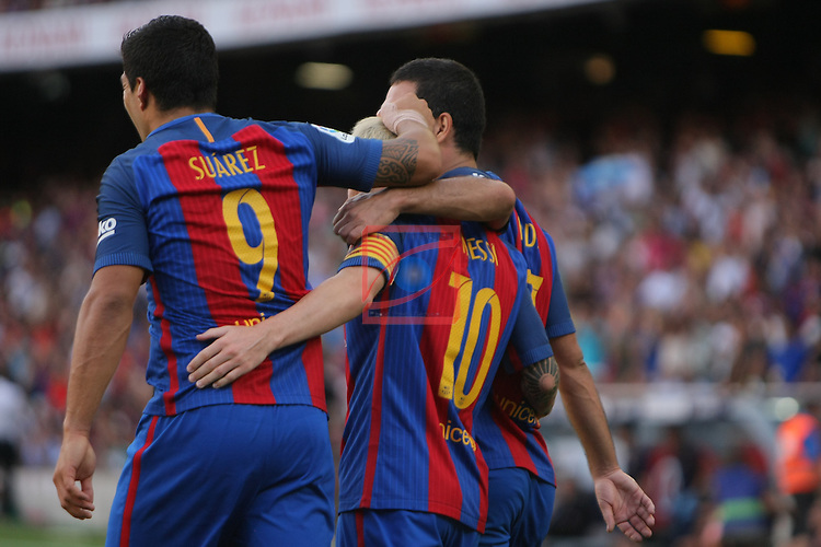 League Santander 2016/2017. Game: 1.<br /> FC Barcelona vs Real Betis: 6-2.<br /> Arda Turan, Luis Suarez &amp; Lionel Messi.